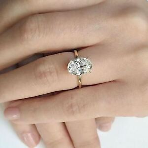 2 carat solitaire oval cut diamond engagement ring in 10k yellow