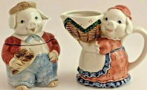 Vintage Otagiri HandPainted Ceramic Country Pig SET Creamer and Sugar Bowl 4Pcs
