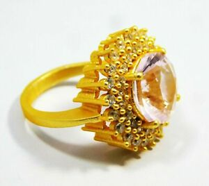 Certified Kunzite For All Occasions Unique Design Gold Plated Ring SIZE 8