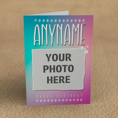 Personalised PHOTO CARD your IMAGE Greeting Birthday Anniversary GLOSSY Finish
