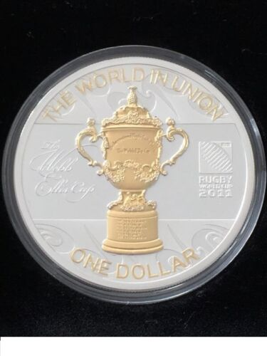 Rugby World Cup New Zealand!!! 2011-1 OZ Silver Proof Coin New Zealand