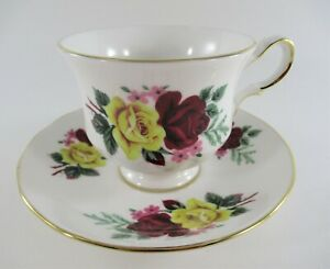 Vintage Queen Anne Teacup & Saucer Bone China Made in England Red Yellow Roses