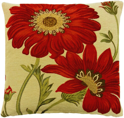 """FILLED GOLD RED GREEN FLORAL TAPESTRY 18/"""" THICK CUSHION"""