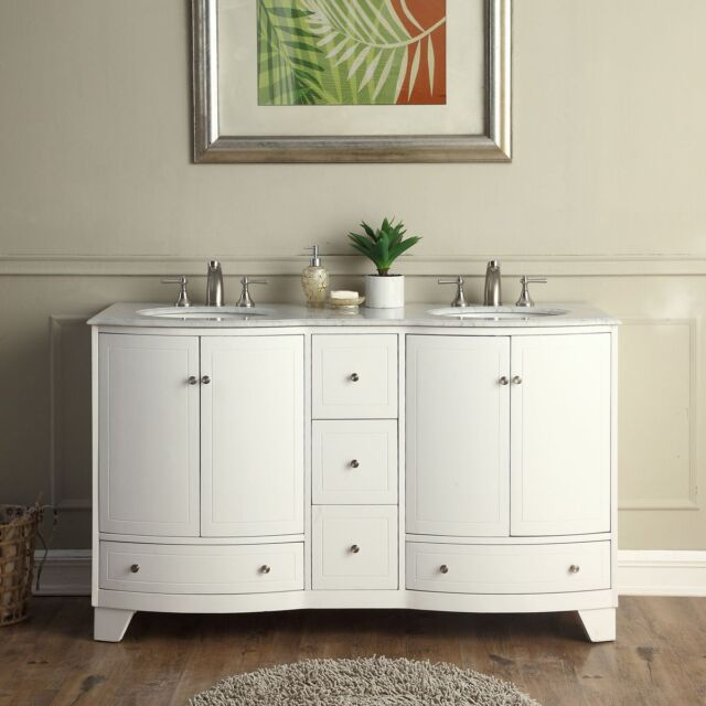 Tremendous 60 Double Sink Vanity Carrara White Marble Top Bathroom Basins Cabinet 291W Download Free Architecture Designs Barepgrimeyleaguecom