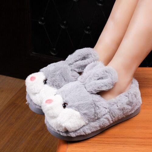 Cute Plush Cartoon Bunny Winter Warm Shoes Cozy Indoor Girl Slippers Xmas Gift