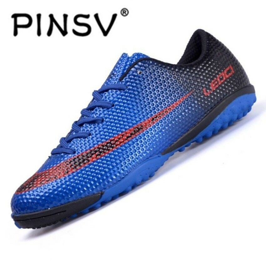 PINSV Men's Outdoor Soccer Boots Turf Indoor Soccer Futsal shoes(NAVY) CR7 shoes