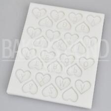 Love Heart Alphabet Letter Silicone Mould Fondant Sugarcraft Wedding Cake Mold