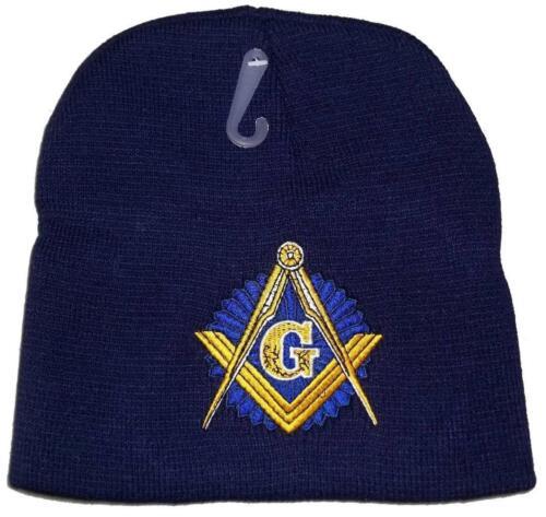 "8/"" NAVY FREEMASON MASONIC EMBROIDERED WINTER BEANIE SKULL CAP mason hat"
