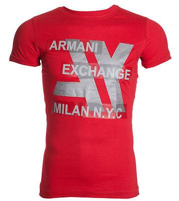 ARMANI EXCHANGE AX Men T-Shirt MILAN NYC Slim RED Casual Designer Jeans M-XL $48