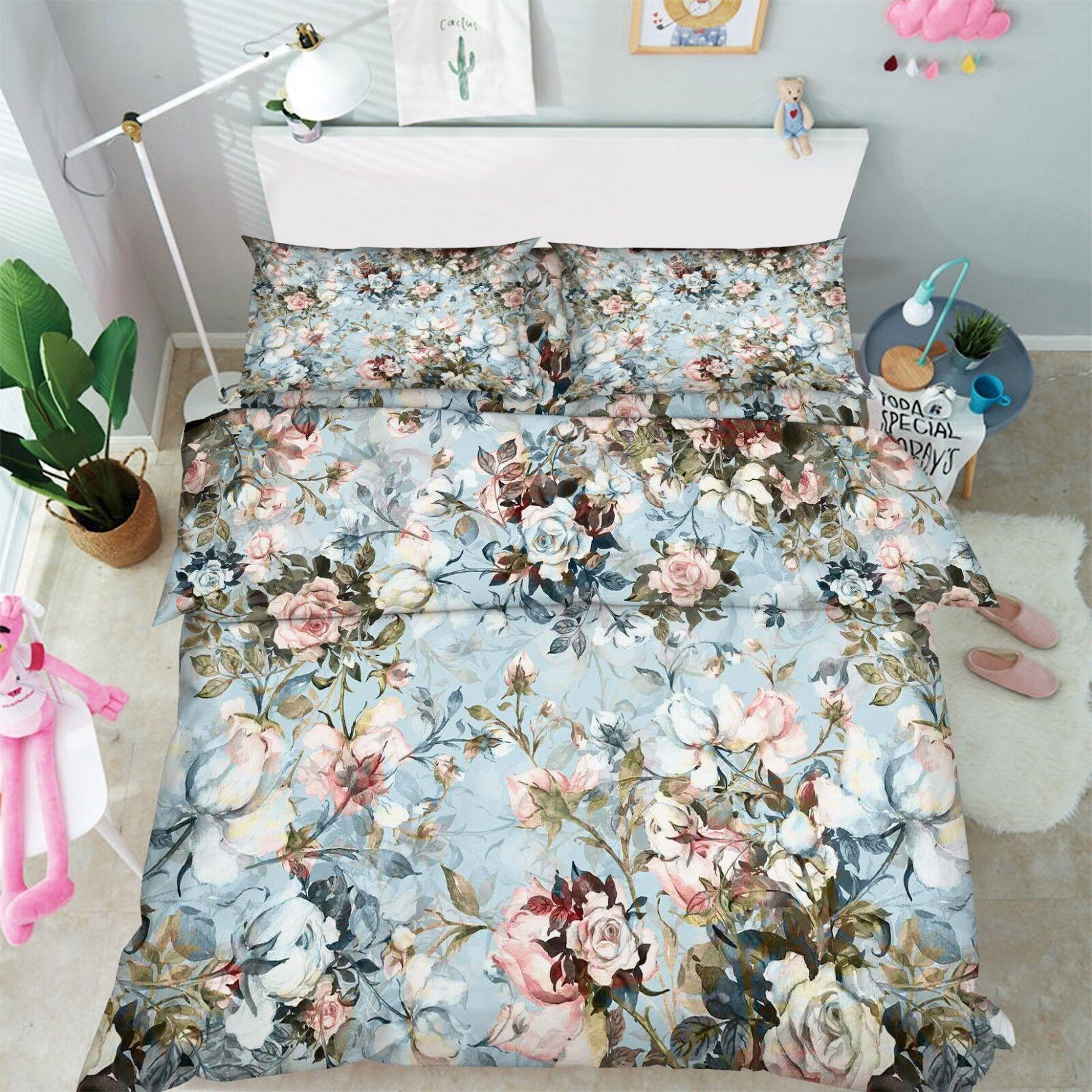 3D Painted Flowers 66 Bed Pillowcases Quilt Duvet Cover Set Single King UK Lemon