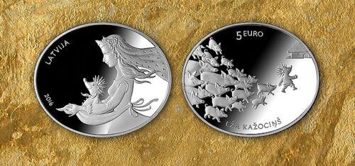 5 EUR LATVIA 2016 FAIRYTALE COIN II EZA KAZOCINS HEDGEHOG FUR GIFT BOX CERTIF BU