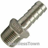 Stainless Hose Barb Fitting 1/4 Hose X 1/4 Male Npt