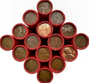 50-PENNIES-PER-ROLL-LINCOLN-WHEAT-PENNIES-VERY-OLD-SCARCE-MIXED-DATES