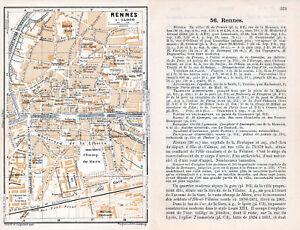 35 Rennes 1913 pt. plan ville + guide (6 p.) Cathédrale Quais Bvd Liberté Féval RDKjDebu-08044344-917535564