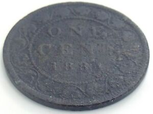 1884-Canada-One-1-Cent-Copper-Large-Penny-Canadian-Victoria-Circulated-Coin-J892