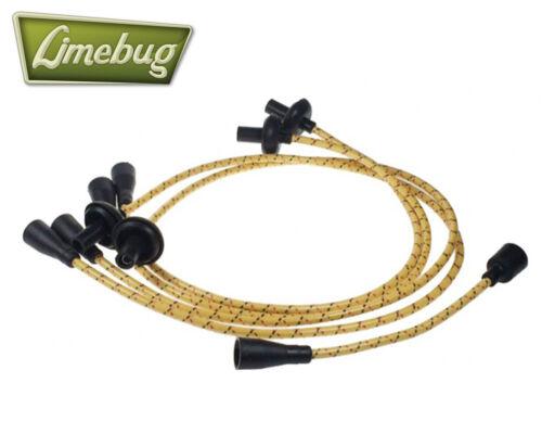 Clásico VW Escarabajo Ht Lidera Ignición Cable de Plomo Genuino Algodón Amarillo 7 mm T1 T2