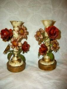 ITALIAN TOLE STYLE CANDLE HOLDERS FRENCH FARMHOUSE LUSH TIN HP FLOWERS SPAIN