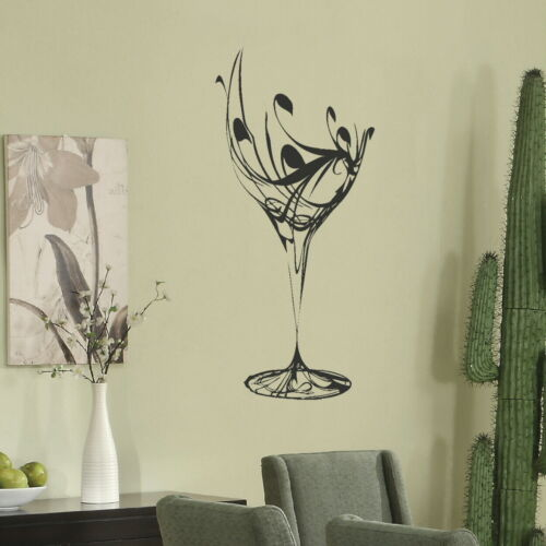 Wine Glass Wall Sticker Dining Room Art Decor Big Party Decal Home Transfer Kq16