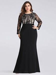 Details about Ever-Pretty Plus Size Lace Sleeve Fishtail Bodycon Evening  Dress Black 07771