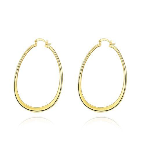 "1.5/"" Technibond Crystal Cut Ball Oval Hoop Earrings 14K Yellow Gold Clad Silver"