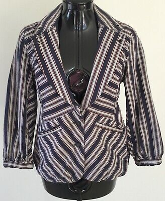 Topshop M.O.T.O Womens Denim Pinstriped Jacket Blazer Size 12 Made In Turkey | eBay