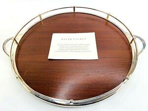 Ralph-Lauren-Huxley-Round-Wooden-Tray-925-Silver-Plated-14-Bar-Serving-Platter