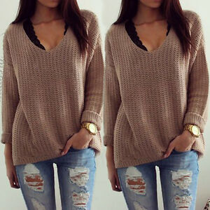 Women-Long-Sleeve-Loose-Sweater-Knitted-Cardigan-Coat-Jacket-Outwear-Casual-New