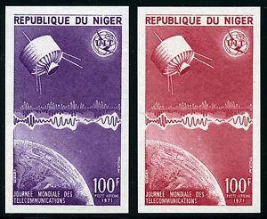 Space-Raumfahrt-1971-Niger-ITU-UIT-Satellit-290-U-Imperf-Farbproben-MNH-1229