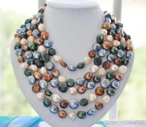 z6027 14mm black coffee pink green baroque freshwater pearl necklace 100inch