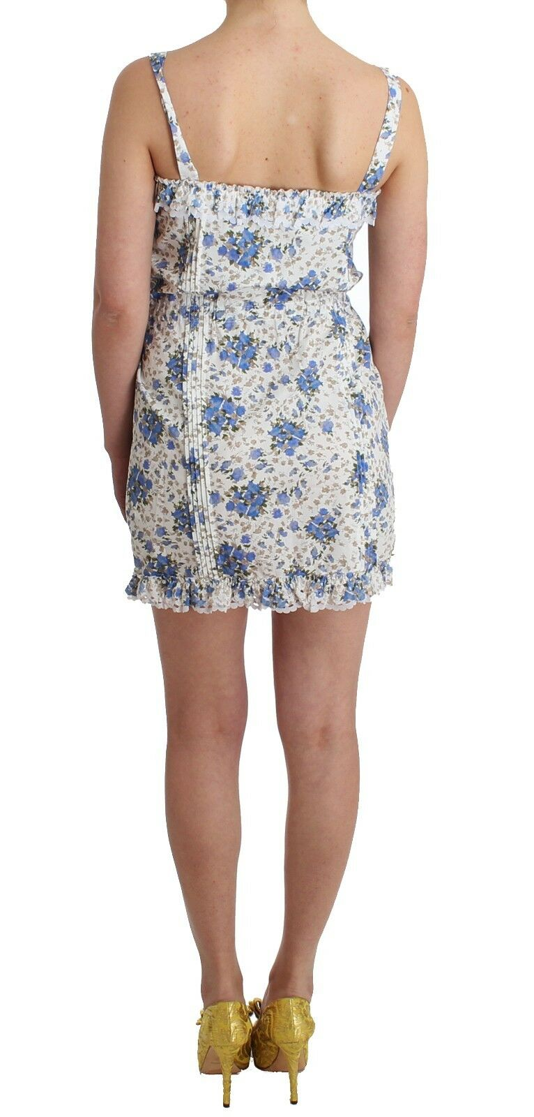 NEW  380 Ermanno Scervino Dress Beachwear bluee Floral Floral Floral Beach Mini Short IT46 US12 60a823