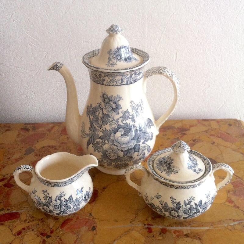 Cafetière Mason's Stratford grau, porcelaine anglaise, vers 1960 (3 pièces)