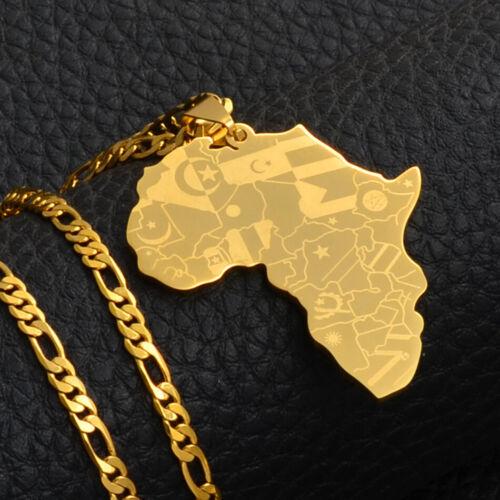 Gold Deluxe Africa Necklace Pendant Chain Rasta Reggae Afro Black African U.K
