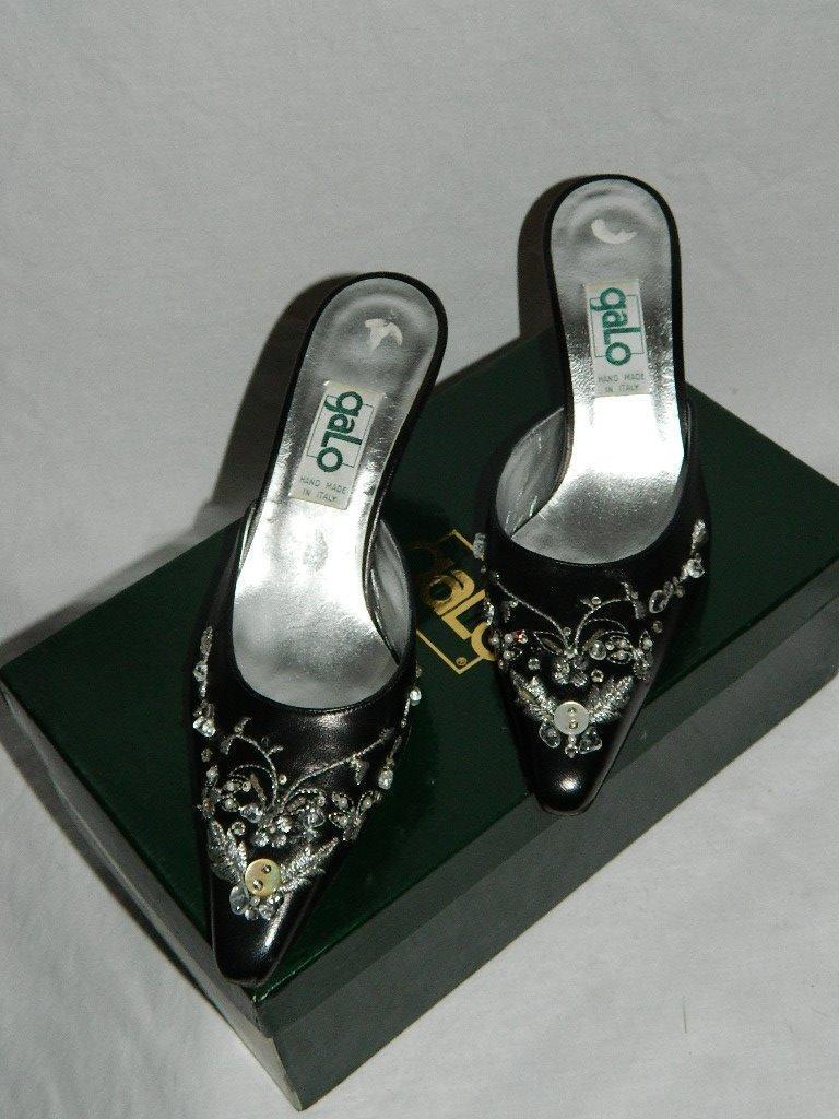 vanno a ruba Galo nero Leather Mules Slides w  Intricate Beading Beading Beading Handmade  NIB Dimensione 6.5  Garanzia del prezzo al 100%