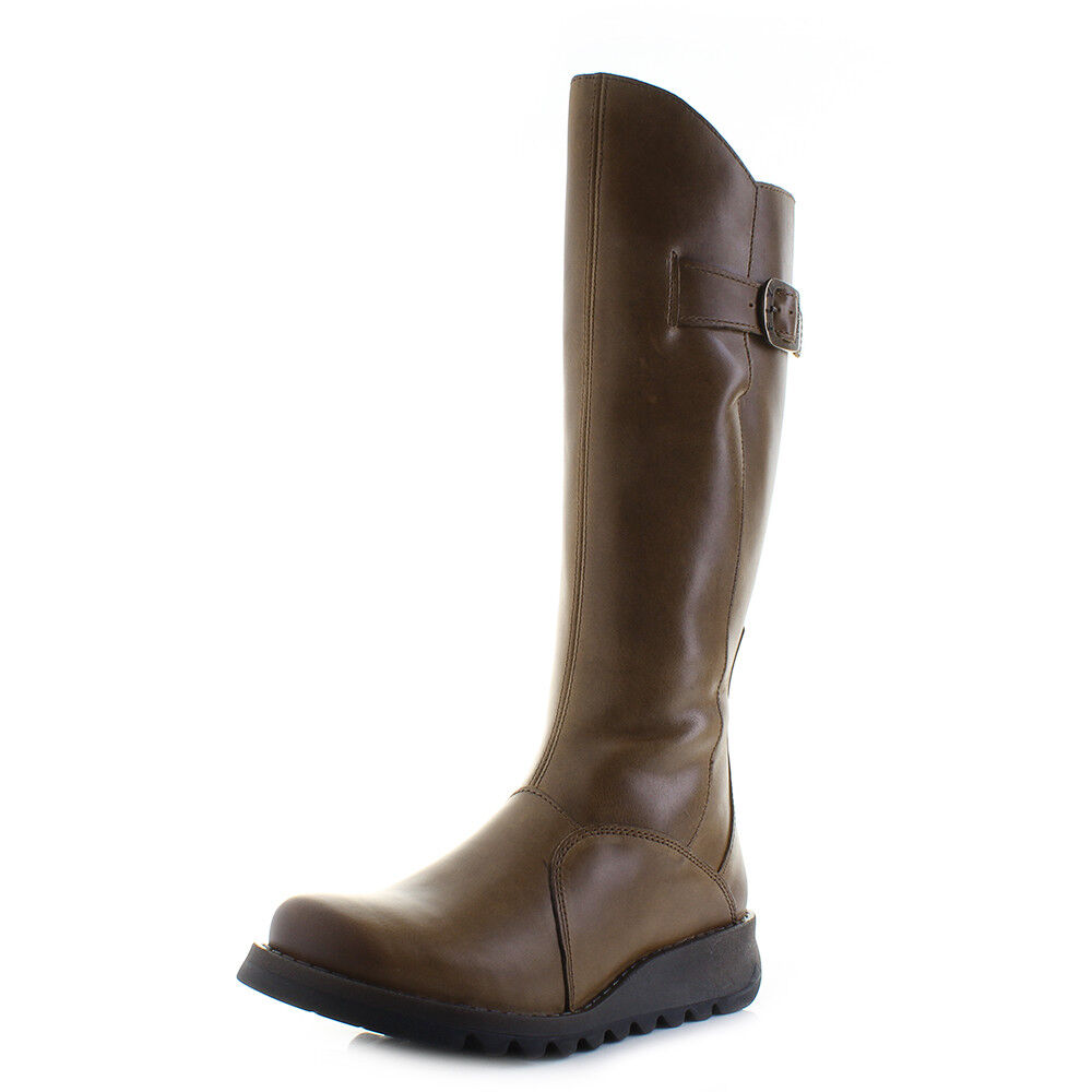 Chaussures femme Fly London Mol 2 Tapis camel en cuir Premium Tall Bottes Motard Taille