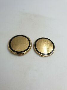 Stratton-Mirror-Powder-Compact-Gold-Floral-Black-Enamel-Double-Sided-Mirror-2PC