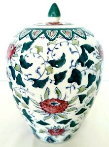 Tall-Vintage-Ginger-Jar-Teal-Pink-Green-Floral-Chinese-w-Lid-11-034-H-Signed