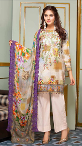 geborduurd Maria Pakistaanse ontwerper 3st B Khaadi paars Indiase b Maria geïnspireerd zxSdfqfX