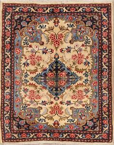 Traditional-Floral-Bidjar-IVORY-BLUES-Hand-Knotted-Area-Rug-Wool-Carpet-4-039-x5-039