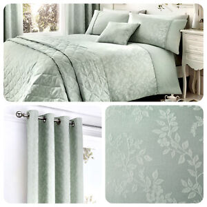 Serene-EBONY-Duck-Egg-Floral-Duvet-Bedding-Set-Cushions-amp-Curtains-for-Bedrooms