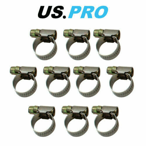 US PRO 8-12 mm pack of 10 zinc plated Steel Hose clamps Jubilee clip 2993