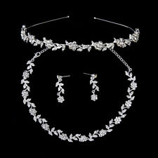 Bridal Wedding Rhinestone Flower Leaves Jewelry Set Tiara Necklace Earrings