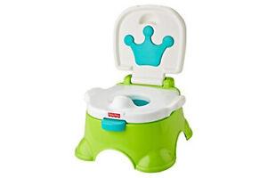 Fisher-Price DLT00 - Lerntöpfchen Toilettentrainer Fußbank Kinder-WC Sound GRÜN
