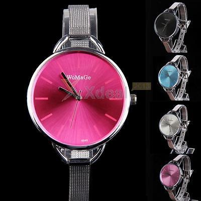 Fashion Classic Women's Lady Quartz Stainless Steel Analog Wrist Watch Bracelet