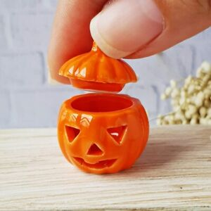 Dollhouse-Miniatures-Halloween-Pumpkin-Ceramic-Pot-Carved-Jar-Jack-O-Lantern