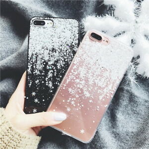 For iPhone XS MAX X 8 6s 7 Plus Slim Snow Christmas Clear Rubber Soft Case Cover