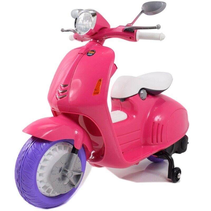 Vespa scooter moto quad électrique enfant 12 volts rose
