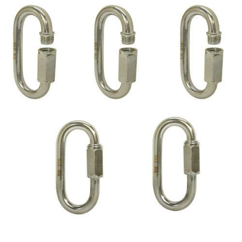 5 PC 1//4/'/' Marine 316 Stainless Steel Quick Link Shackle Boat WLL 600 LBS