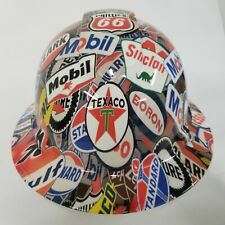 New Full Brim Hard Hat Custom Hydro Dipped In Full Color Oil And Gas Signs