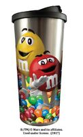 20825 M&m's Mars Candy Character Red Yellow 16oz Stainless Steel Travel Cup