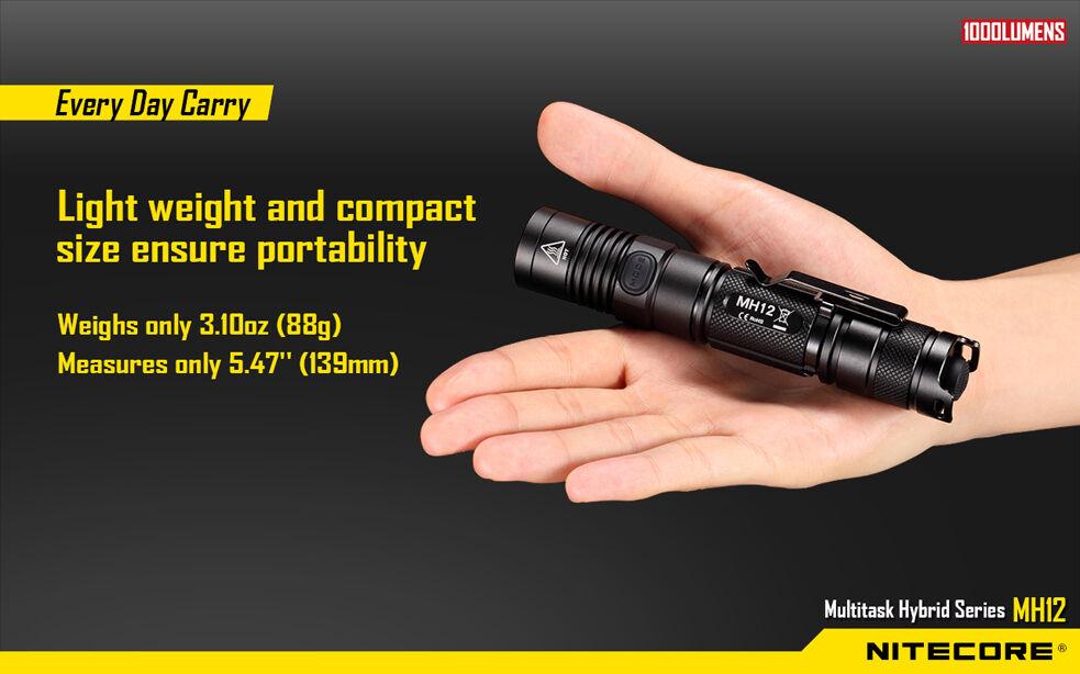 Nitecore MH12 Rechargeable XM-L2 U2 Flashlight 1000Lm w/USB Car Cable & Car w/USB Adaptor 900e60